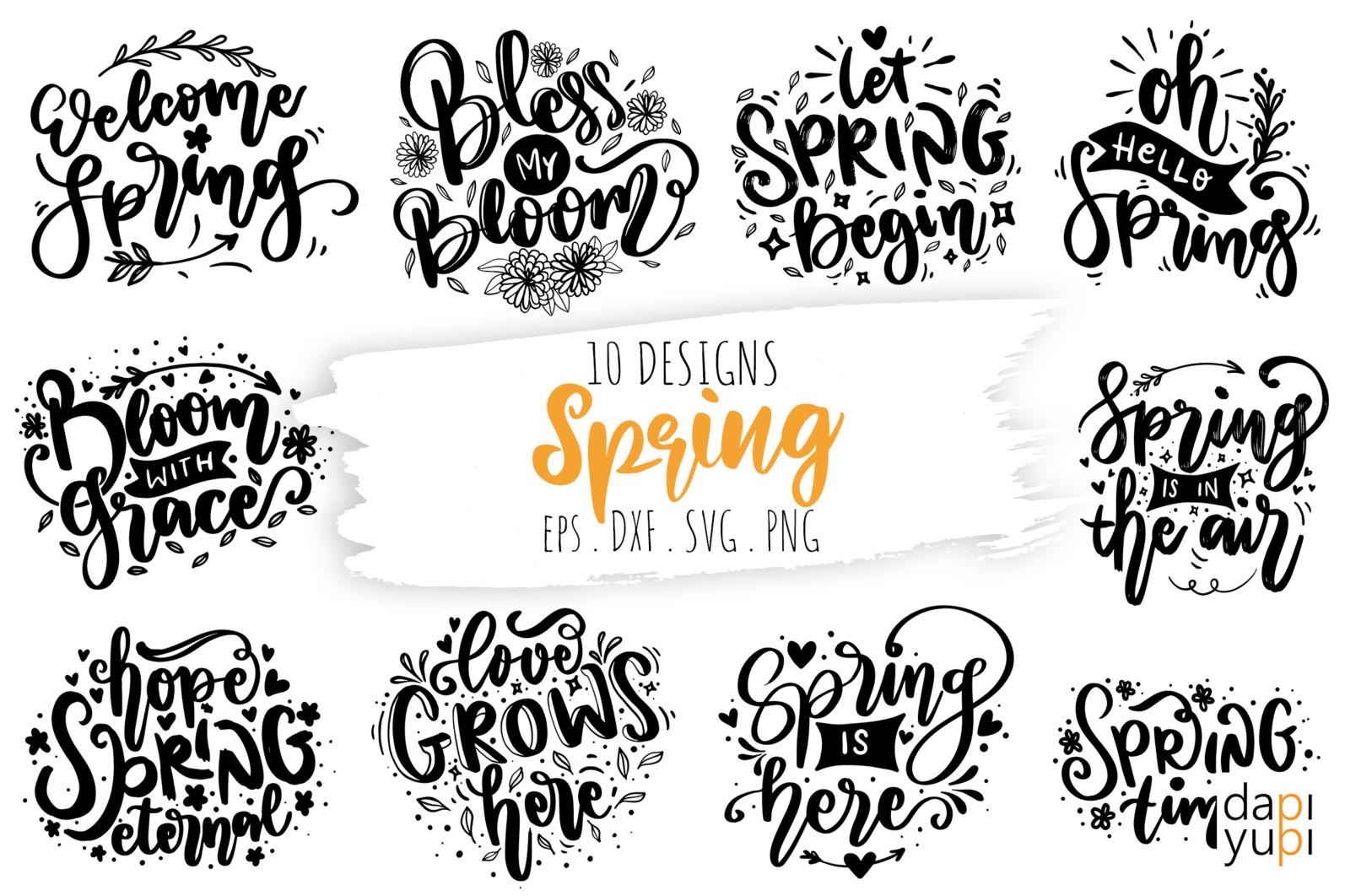 Spring Lettering Quotes Bundle SVG - spring11 -