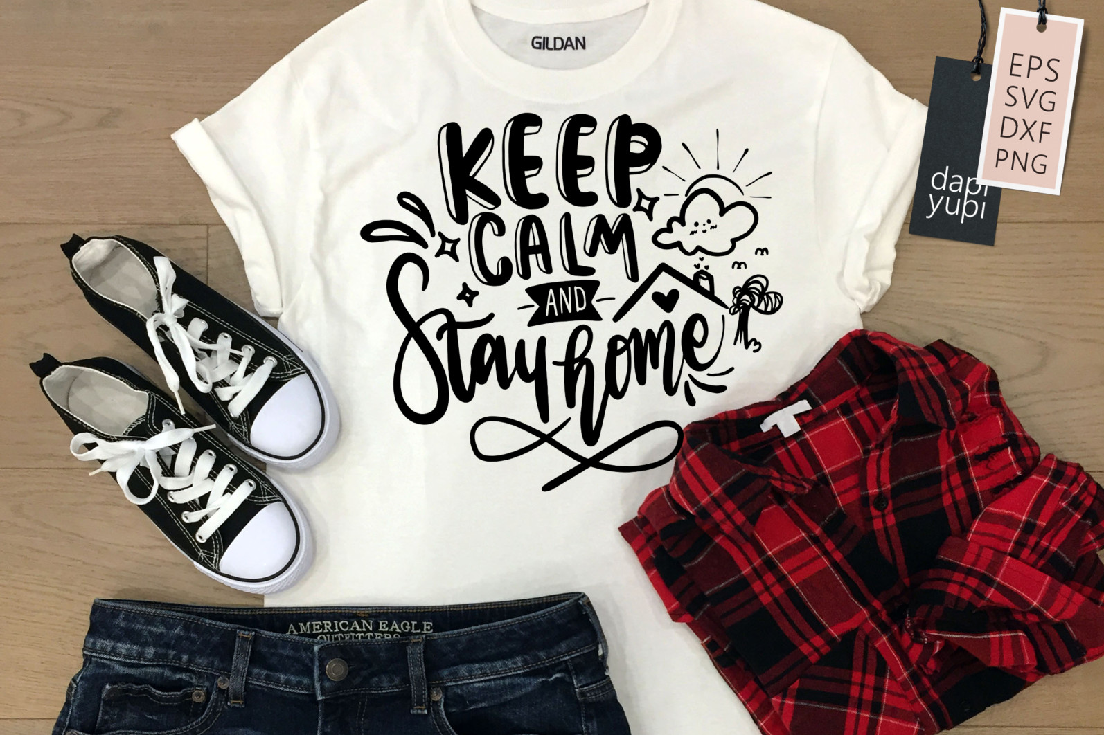 Stay Home Lettering Quotes Bundle Quarantine Quotes - stayhome3a -