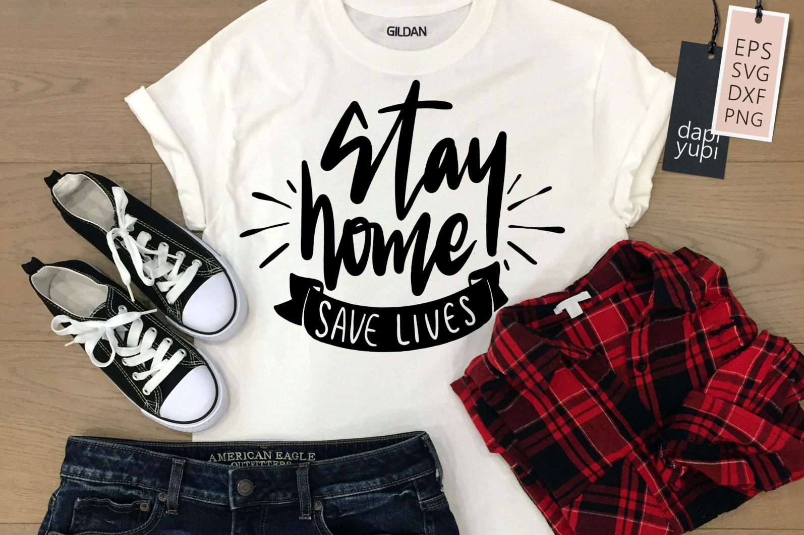 Stay Home Lettering Quotes Bundle Quarantine Quotes - stayhome8a -