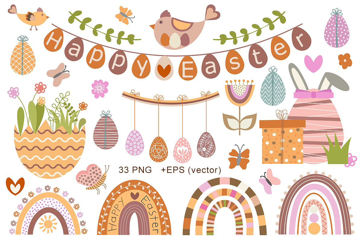 Cute Vector Set of Happy Easter - Cover 2 -