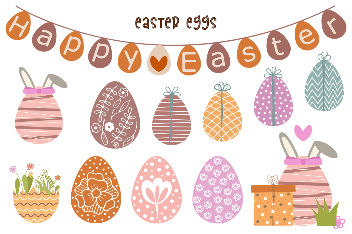 Cute Vector Set of Happy Easter - preview2 1 -