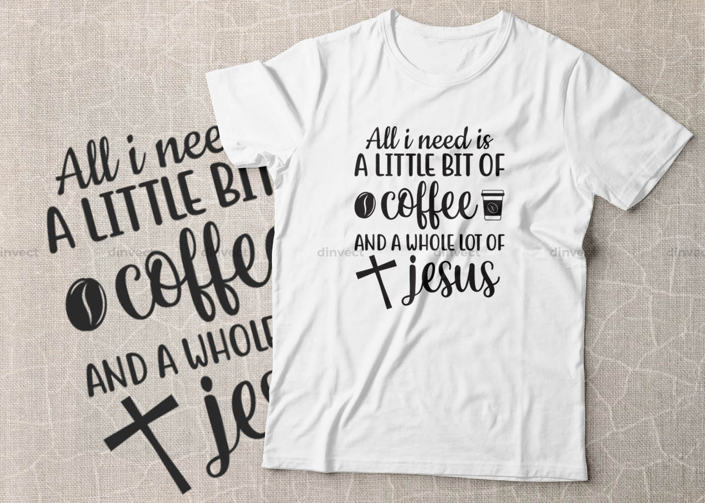 Coffee SVG, Coffee Bundle Svg, Coffee Mug Svg, Funny Coffee Quotes SVG, Mug Design Svg - All i need is a little bit of coffee and a whole lot of jesus -