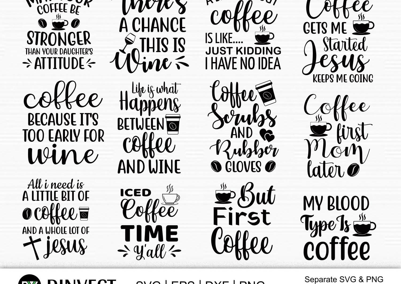 Coffee SVG, Coffee Bundle Svg, Coffee Mug Svg, Funny Coffee Quotes SVG, Mug Design Svg - Coffee design SVG -