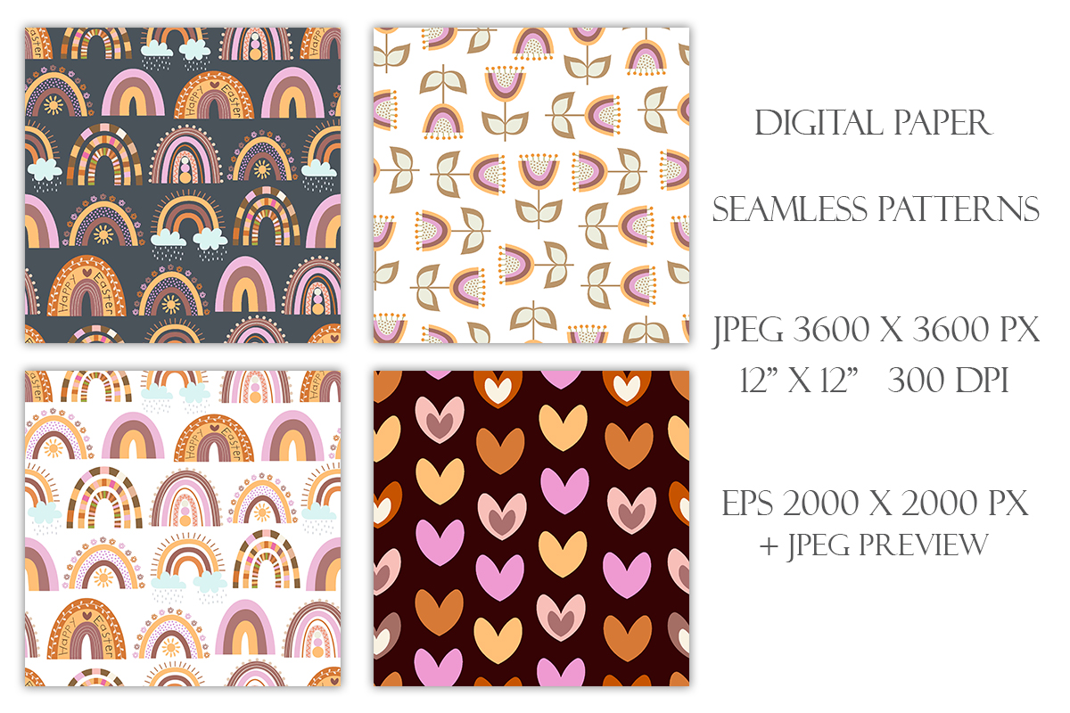 Collection of Seamless Easter Patterns - preview3 3 -