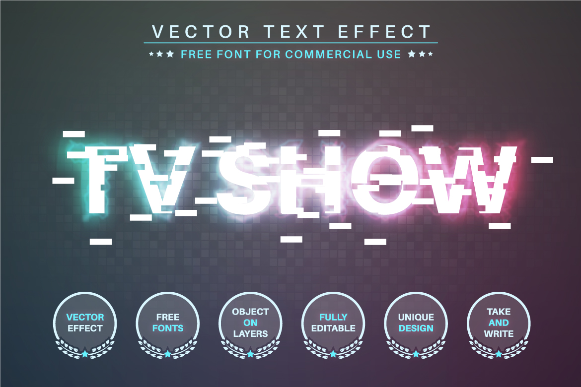 Glitch - Editable Text Effect, Font Style - a 29 -