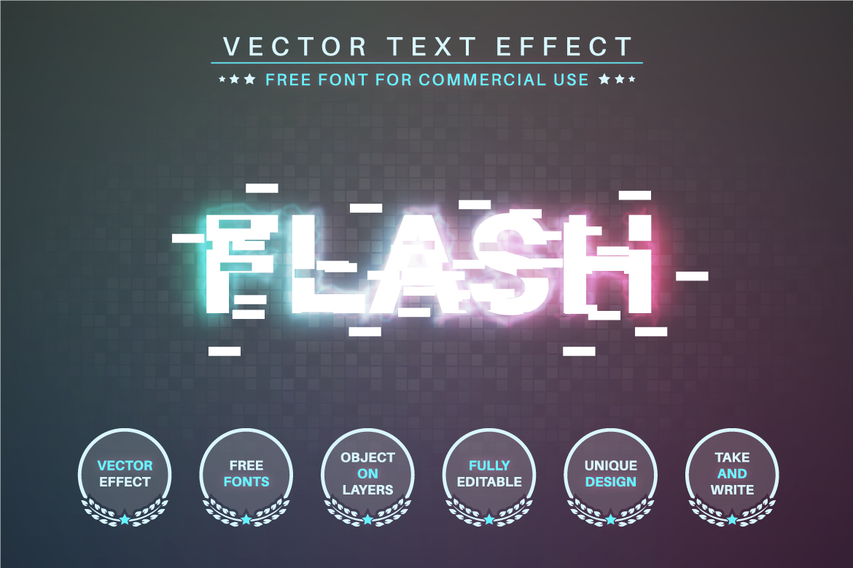 Glitch - Editable Text Effect, Font Style - b 29 -