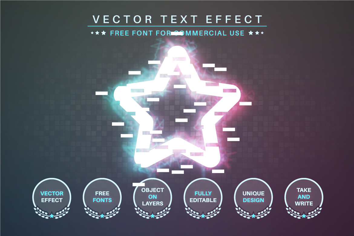 Glitch - Editable Text Effect, Font Style - d 25 -
