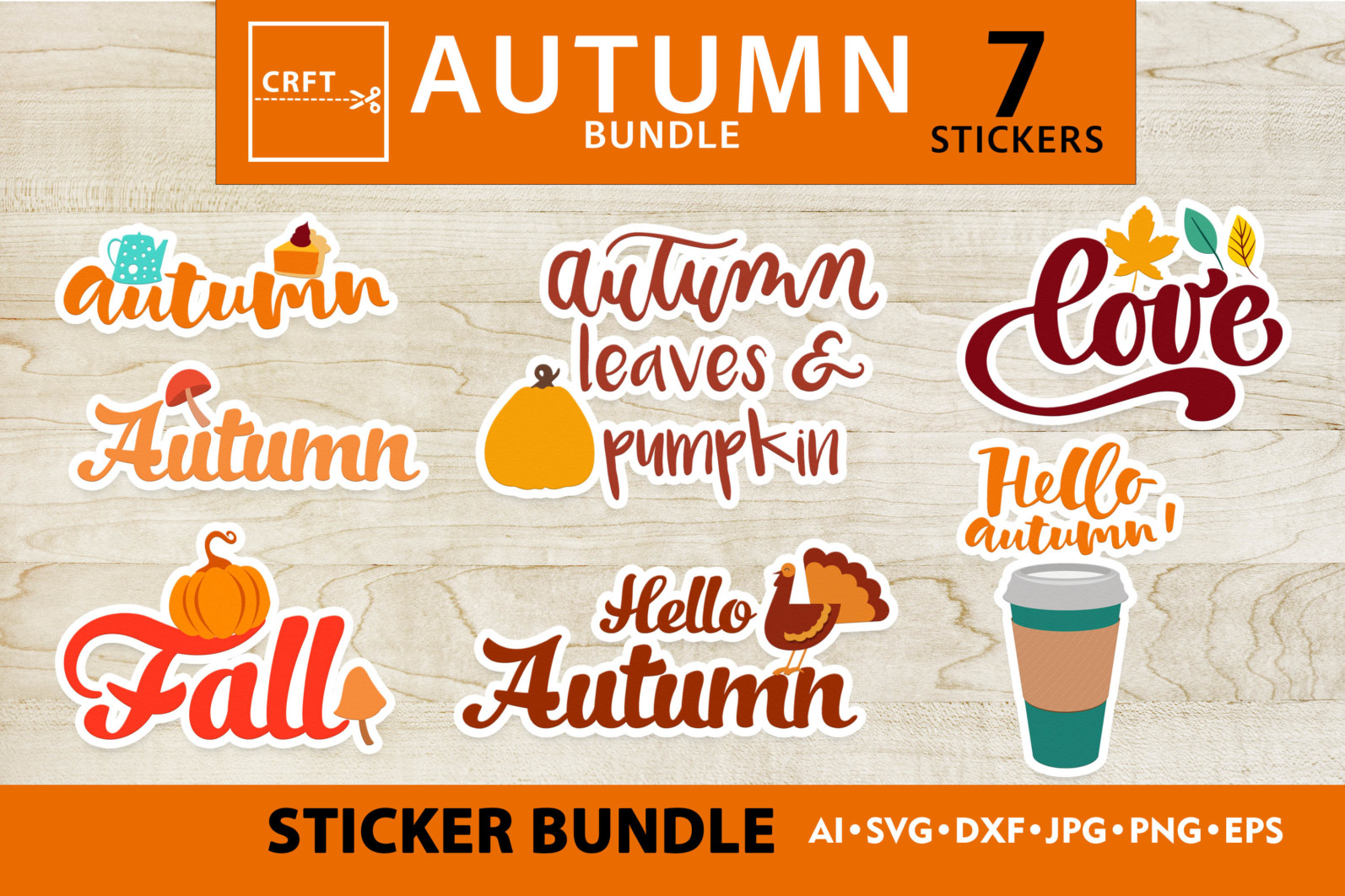 Bundle Lettering Fall Stickers SVG Files For Craft - preview lettering 4 scaled -