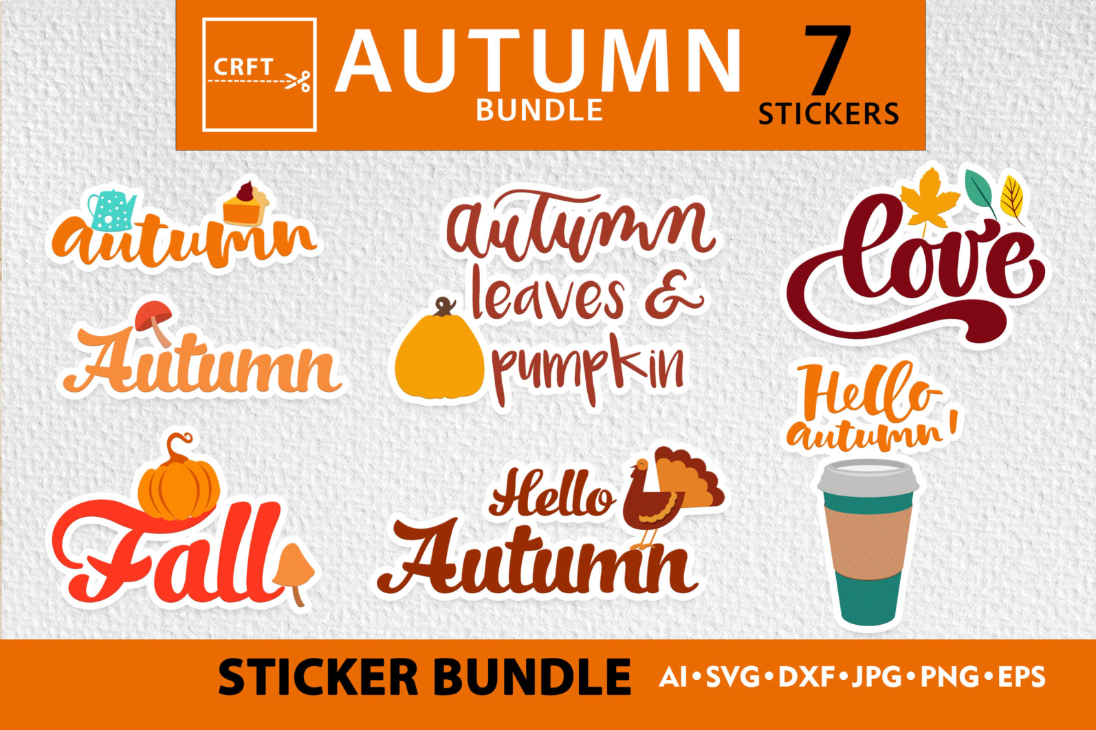Bundle Lettering Fall Stickers SVG Files For Craft - preview lettering 3 scaled -