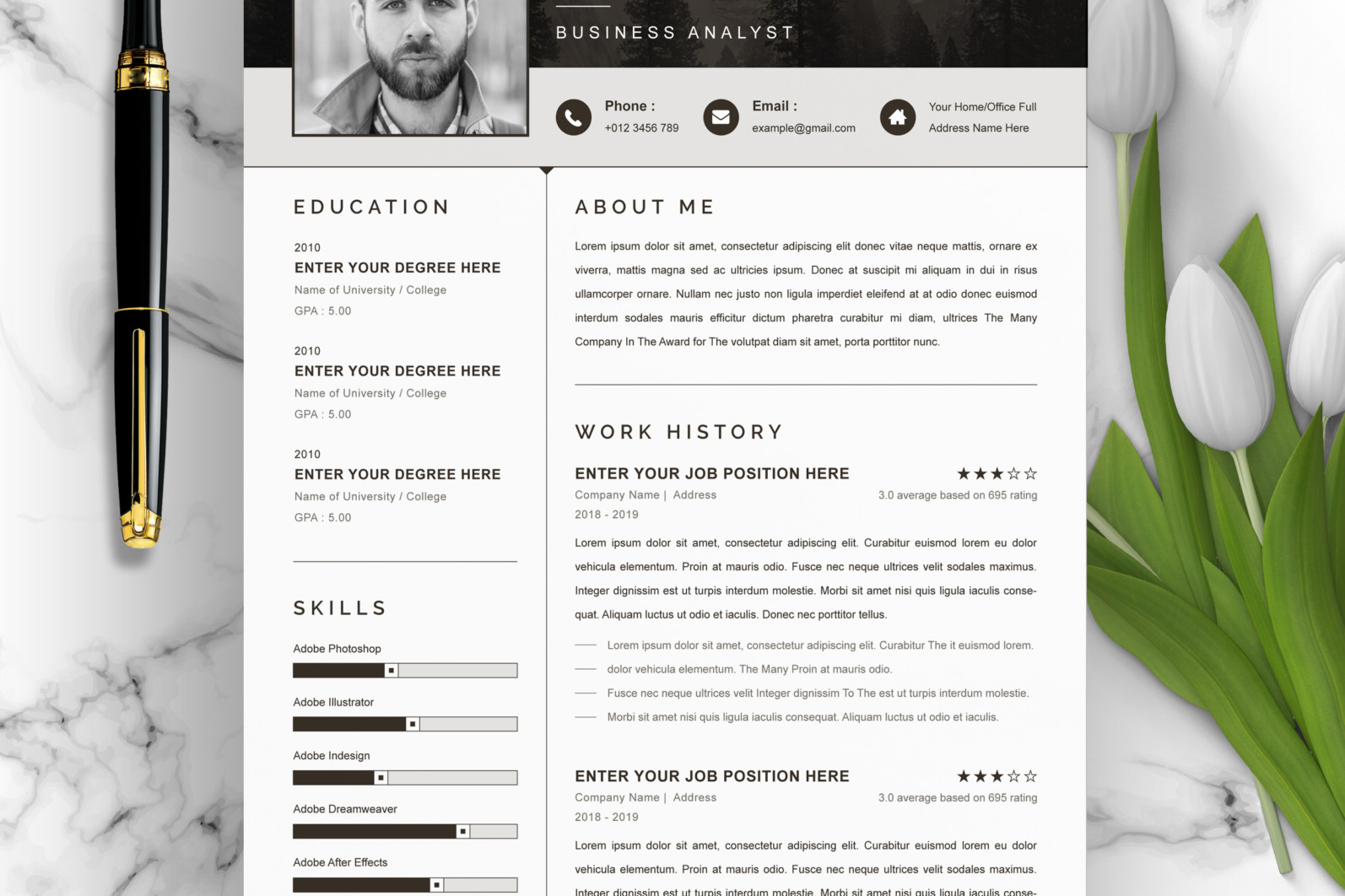 Professional Resume, Instant Download - 01 Clean Professional Creative and Modern Resume CV Curriculum Vitae Design Template MS Word Apple Pages PSD Free Download 9 -