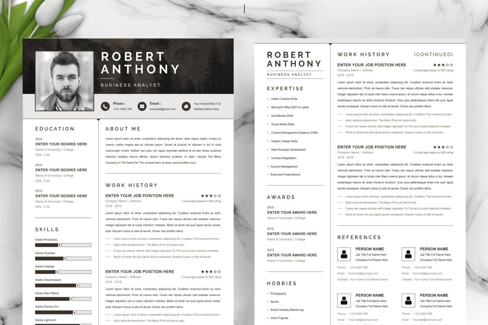 Professional Resume, Instant Download - 02 2 Pages Free Resume Design Template 8 -