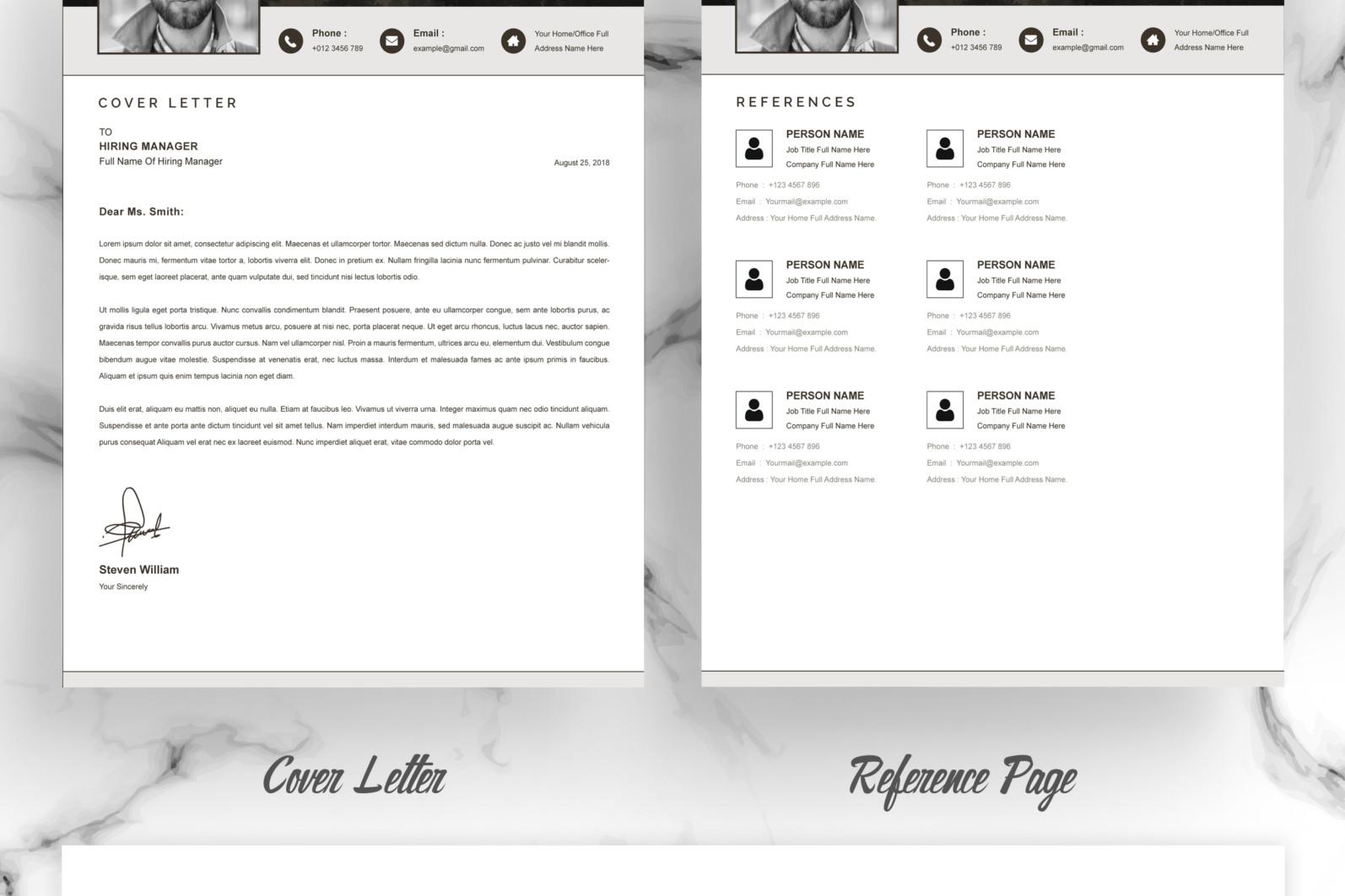 Professional Resume, Instant Download - 03 Resume Template MS Word Free Resume CV Design 6 -