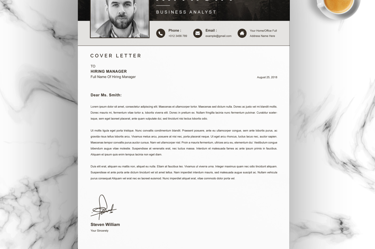 Professional Resume, Instant Download - 04 Resume Cover Letter Page Free Resume Design Template 9 -