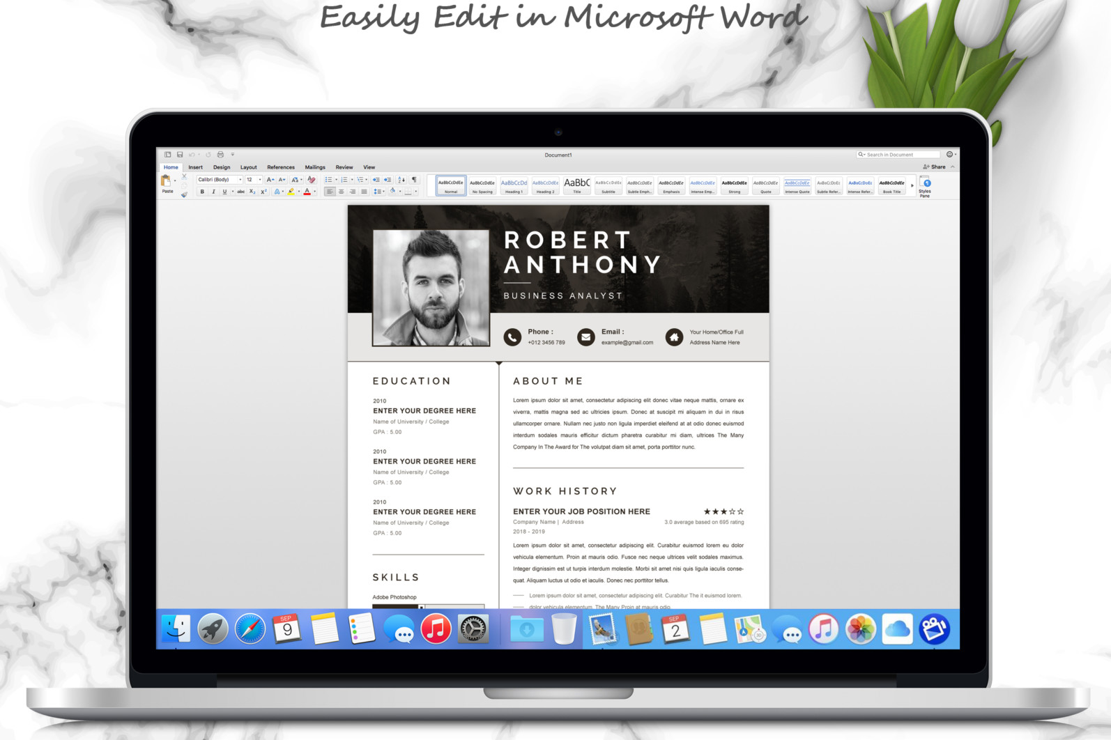 Professional Resume, Instant Download - 05 3 Pages Free Resume MS Word File Format Design Template 7 -