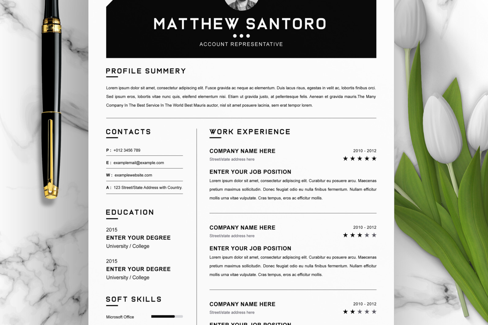 Simple Resume Design 2021 - 01 Clean Professional Creative and Modern Resume CV Curriculum Vitae Design Template MS Word Apple Pages PSD Free Download 10 -