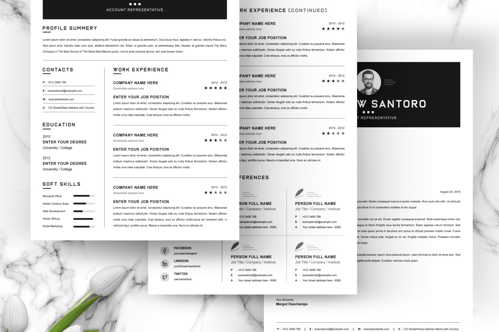 Simple Resume Design 2021 - 04 3 Pages Free Resume Design Template -