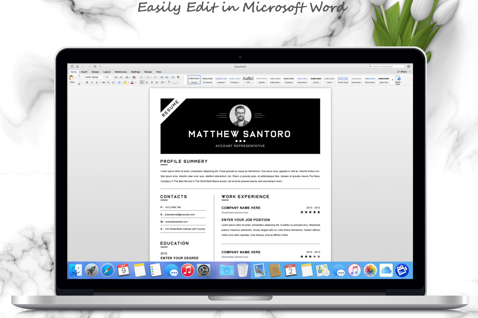 Simple Resume Design 2021 - 05 3 Pages Free Resume MS Word File Format Design Template 8 -