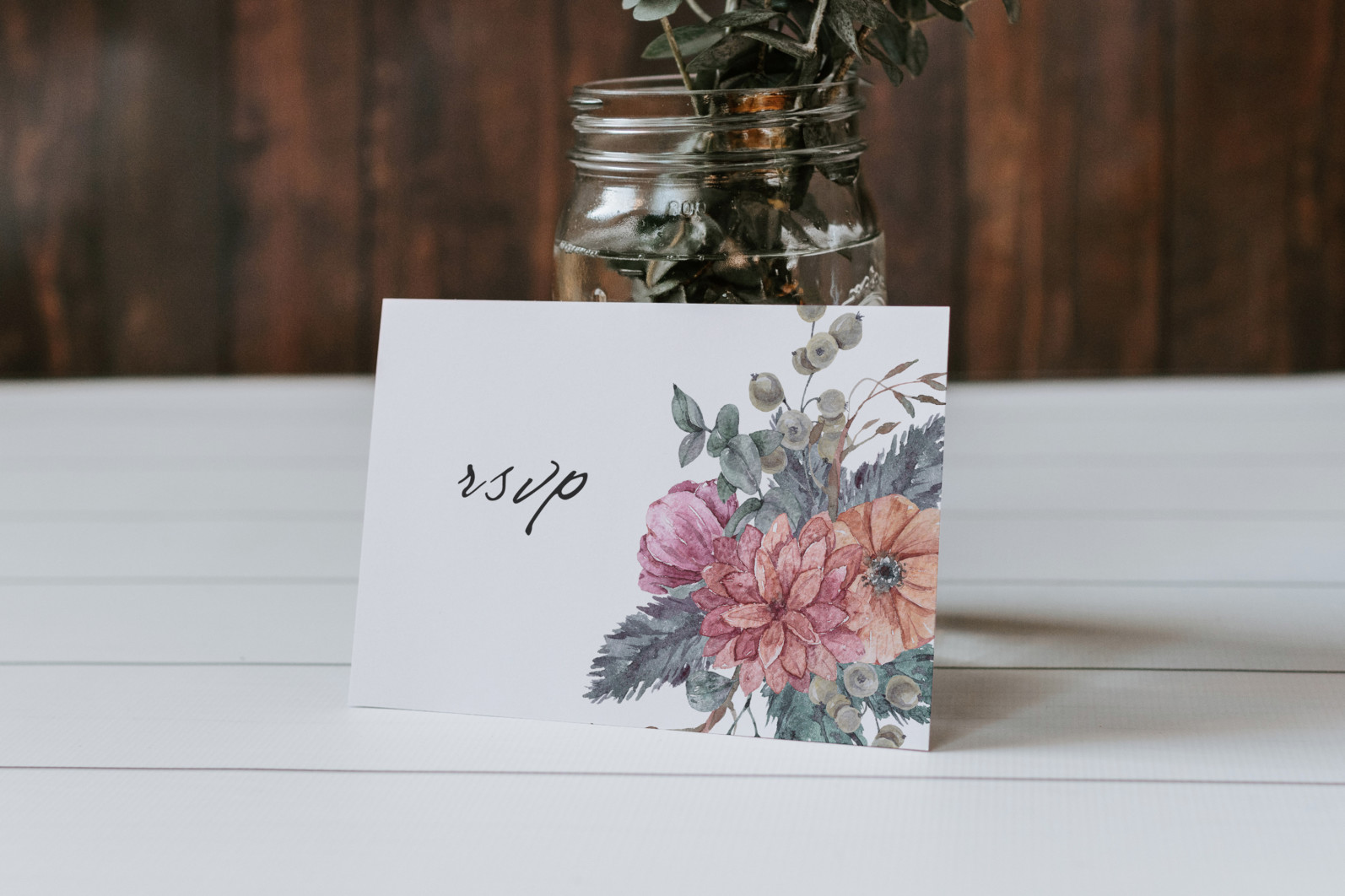Floral bouquets sublimation / clipart- 3 png files - Free Card Placing on Wooden Table Mockup scaled -