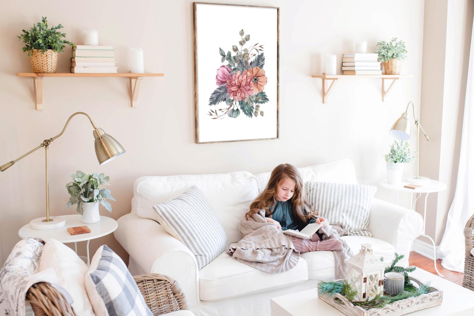 Floral bouquets sublimation / clipart- 3 png files - Free Elegant Room Interior Frame Mockup PSD 2019 scaled -