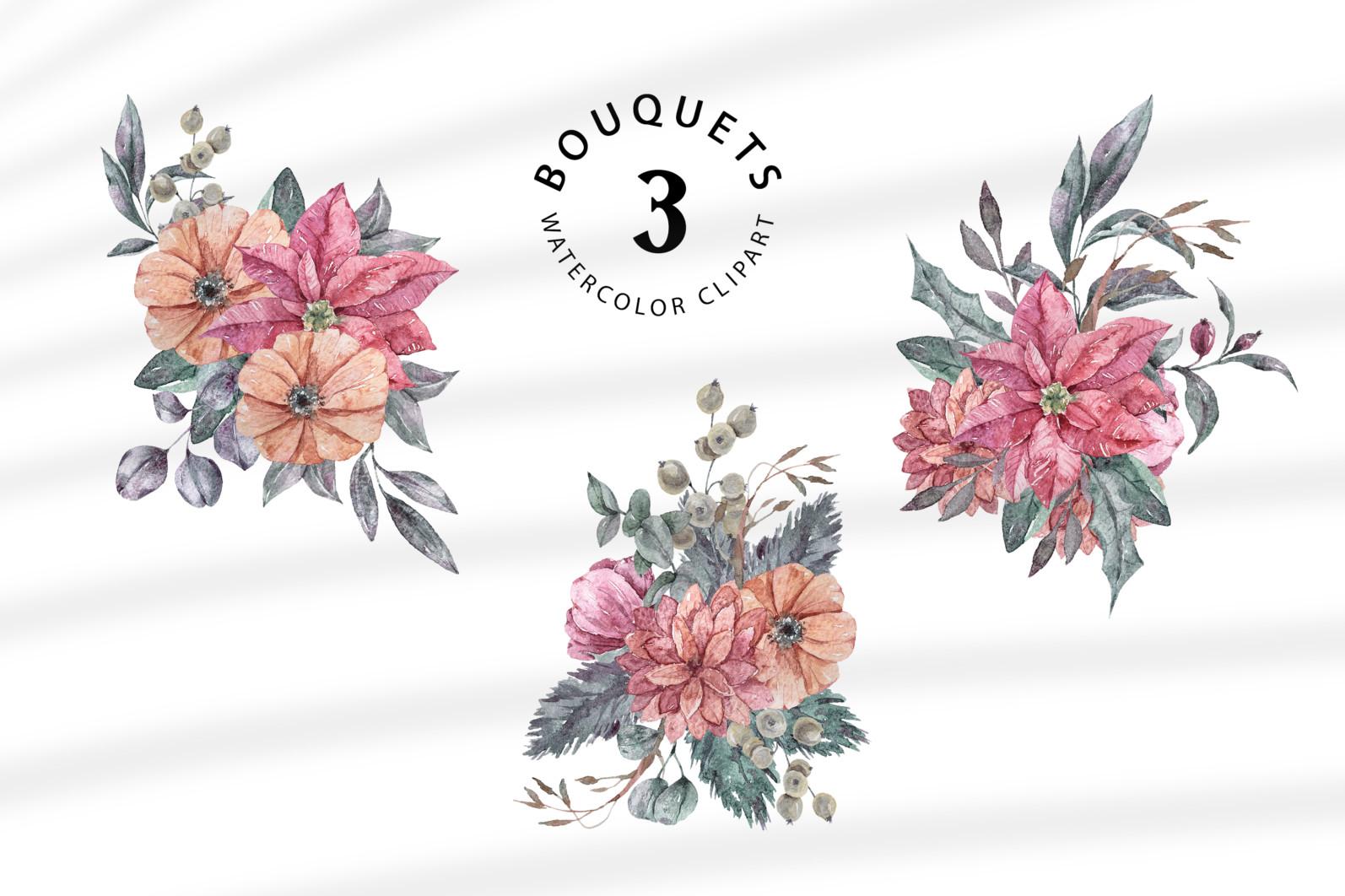 Floral bouquets sublimation / clipart- 3 png files - preview bouquets 1 scaled -