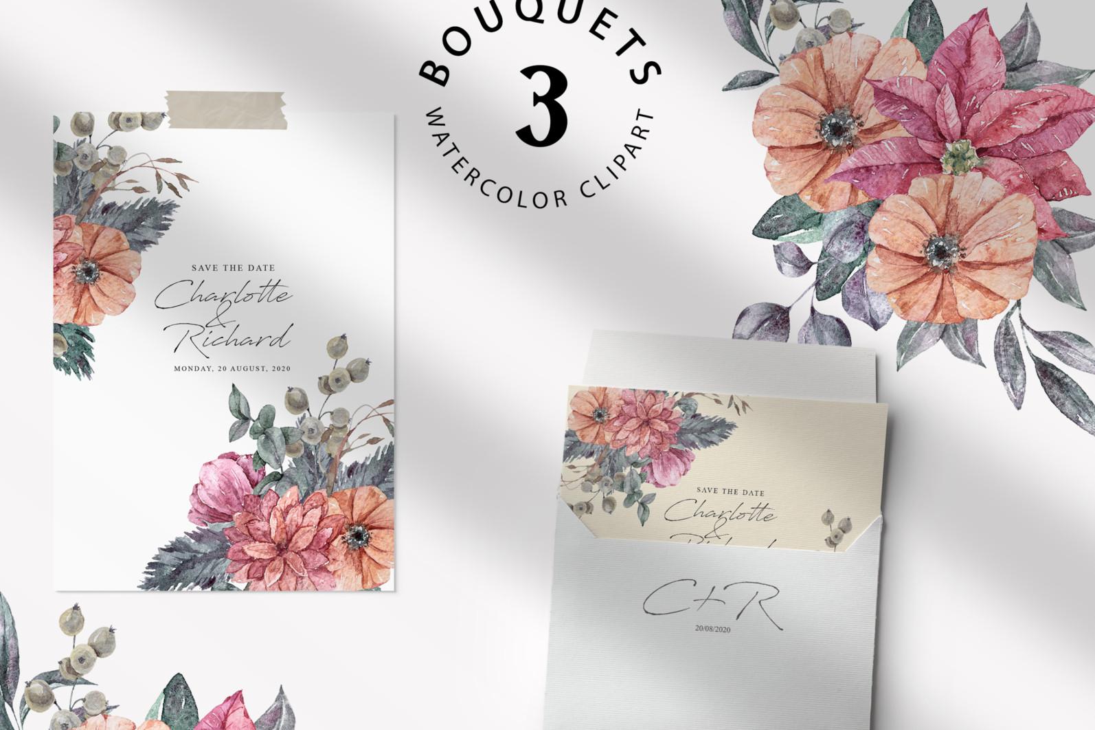 Floral bouquets sublimation / clipart- 3 png files - preview bouquets 2 scaled -