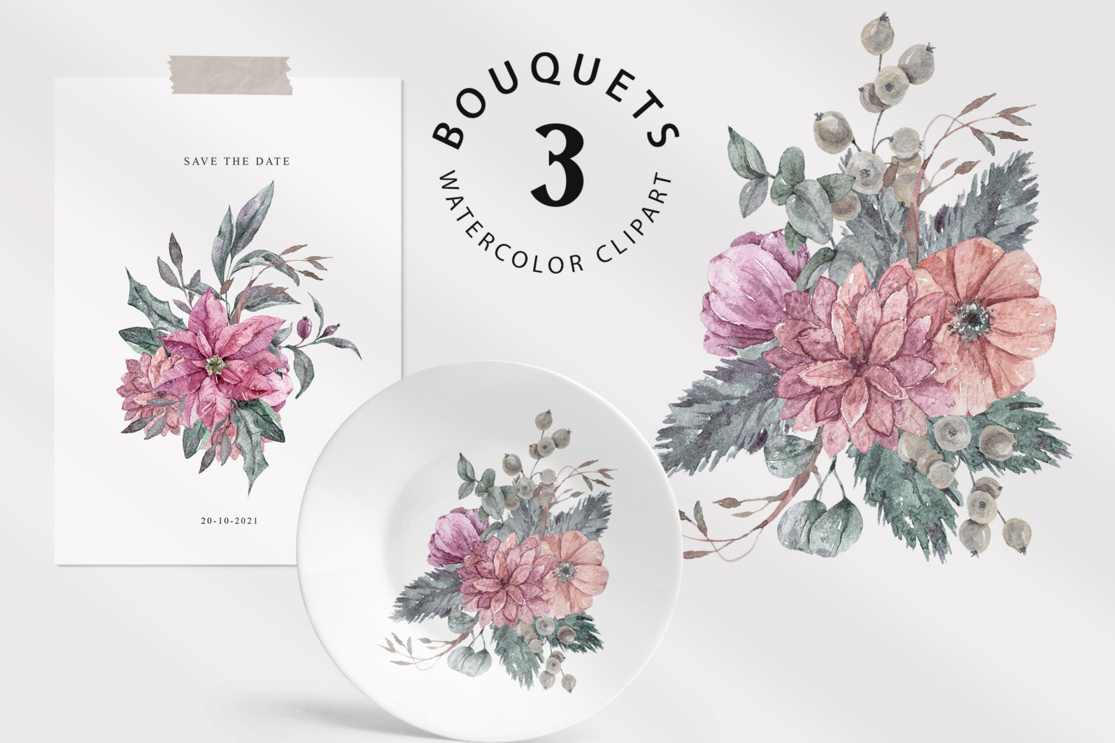 Floral bouquets sublimation / clipart- 3 png files - preview bouquets 3 scaled -