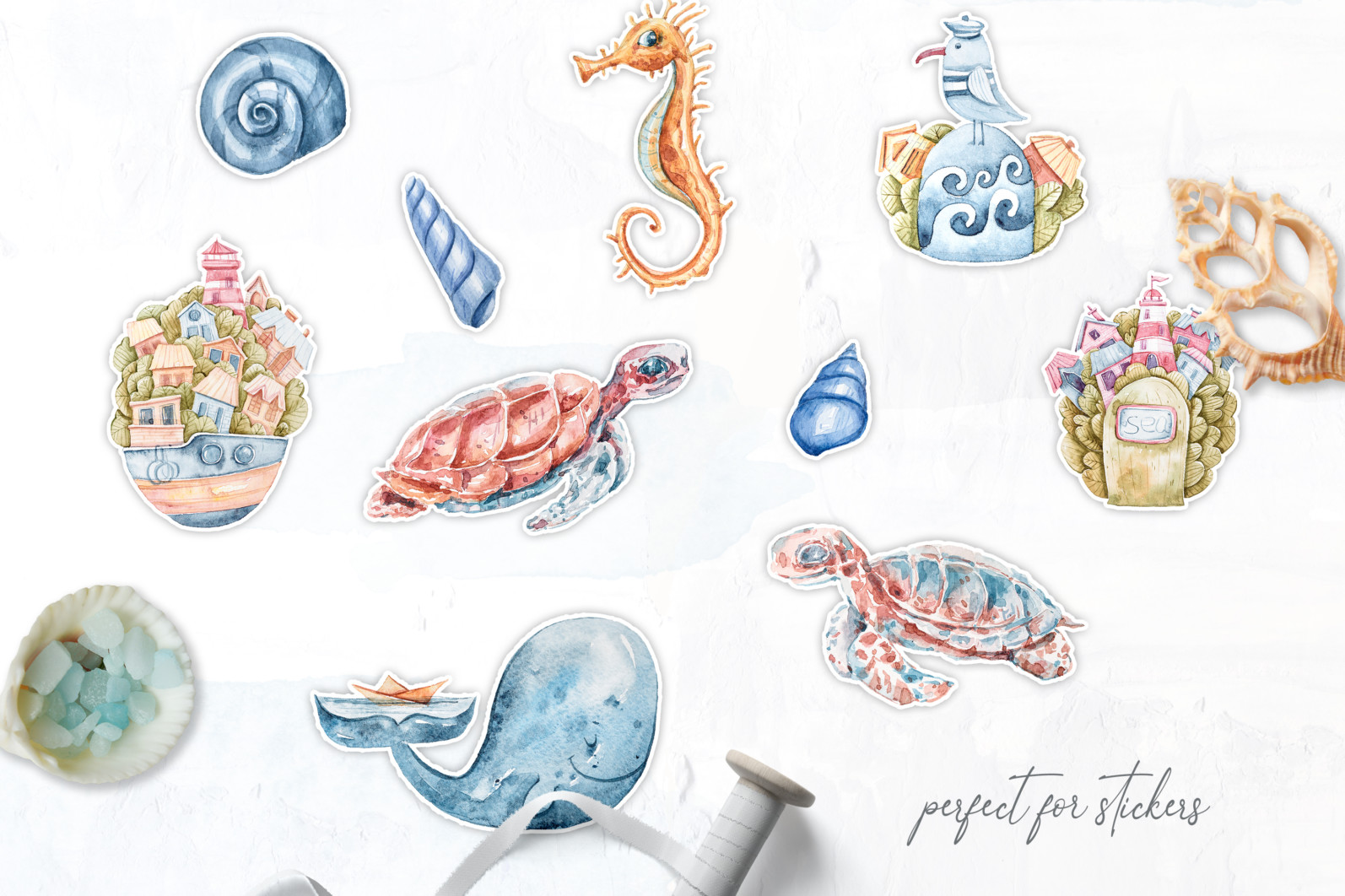 Watercolor nautical sea animals nursery clipart for kids - preview3 4 scaled -