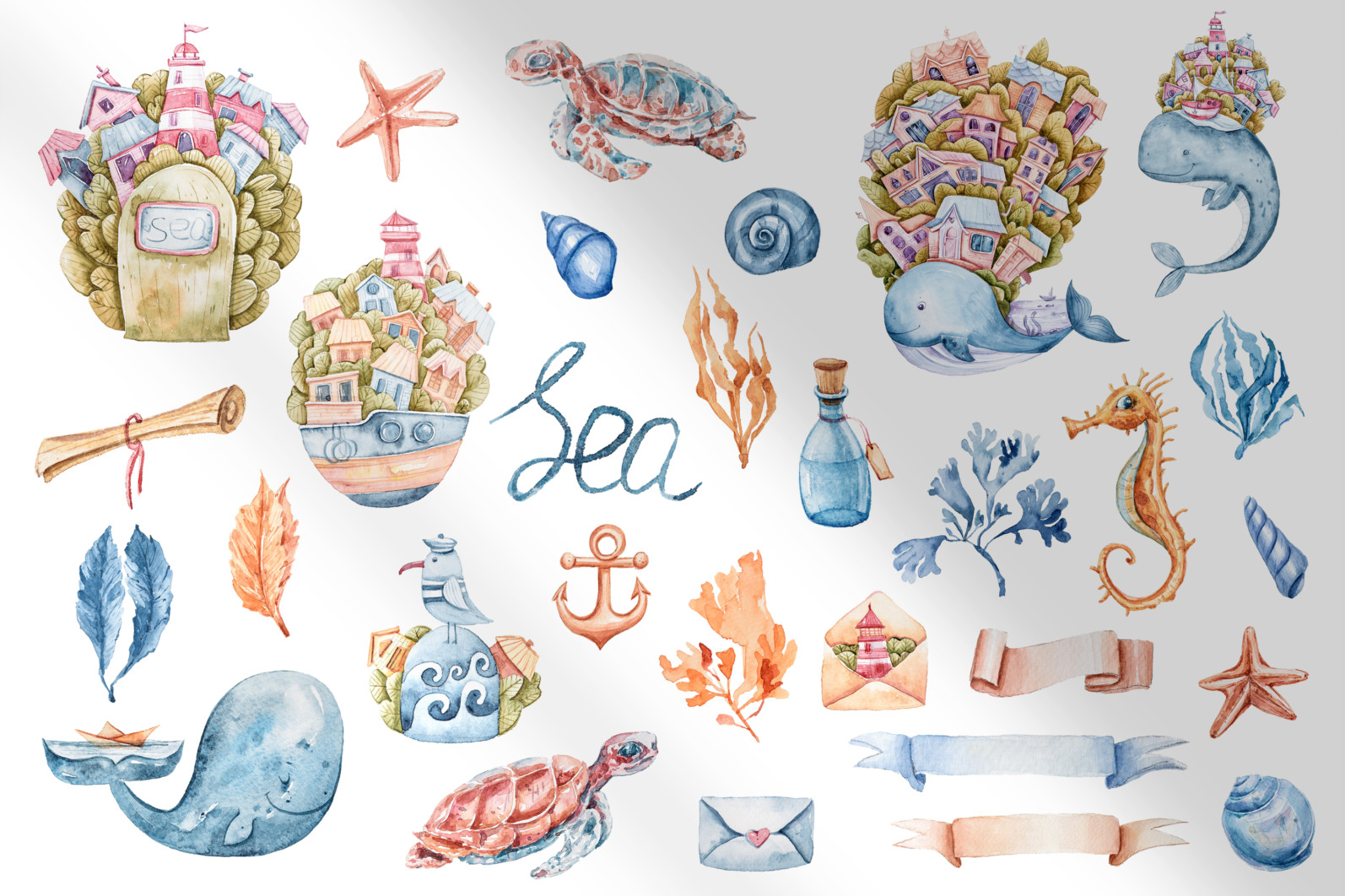 Watercolor nautical sea animals nursery clipart for kids - preview4 4 scaled -