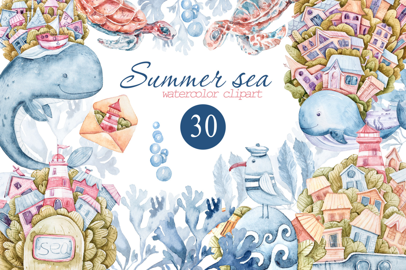 Watercolor nautical sea animals nursery clipart for kids - preview1 sm scaled -