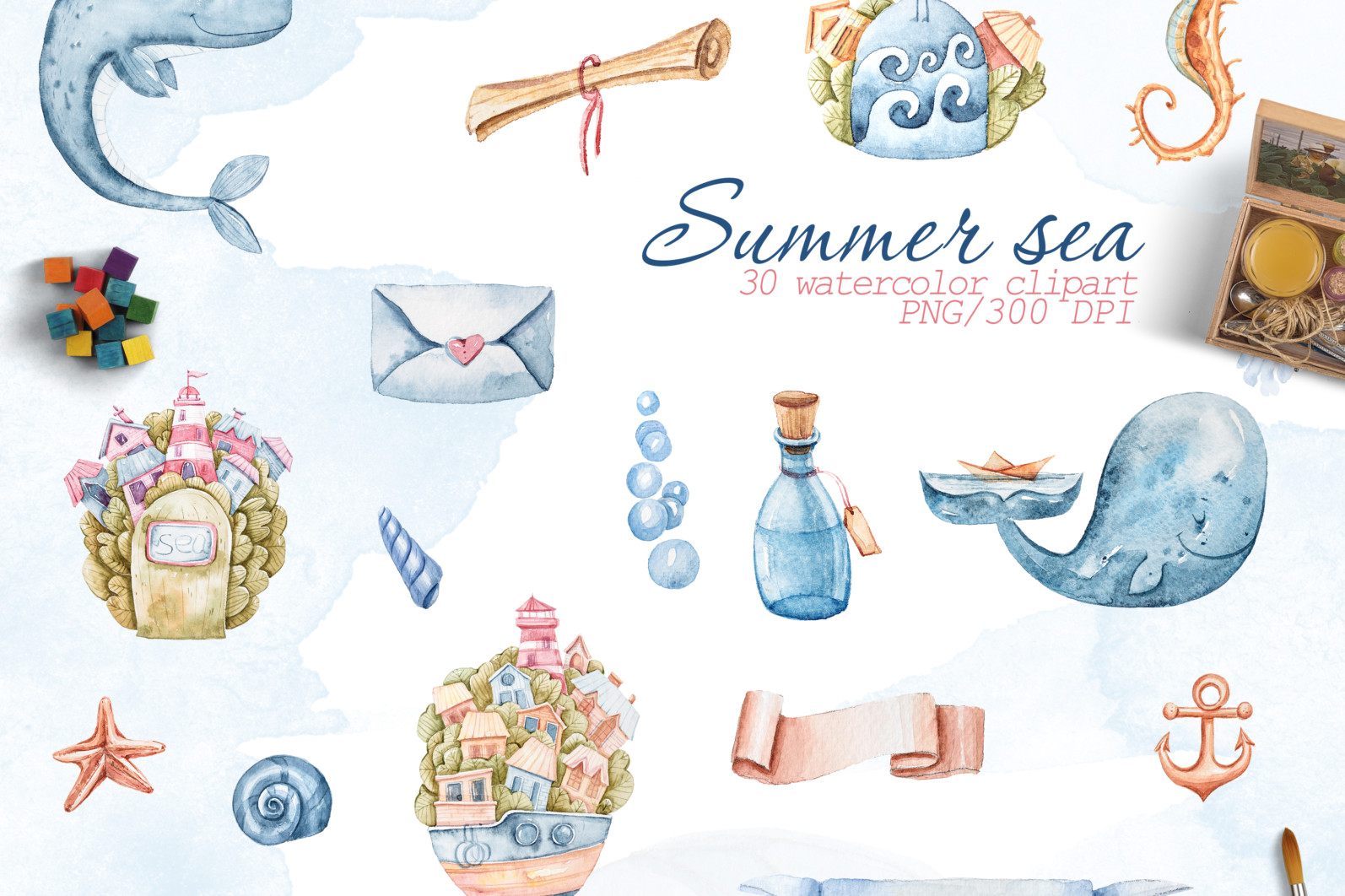 Watercolor nautical sea animals nursery clipart for kids - preview2 4 scaled -