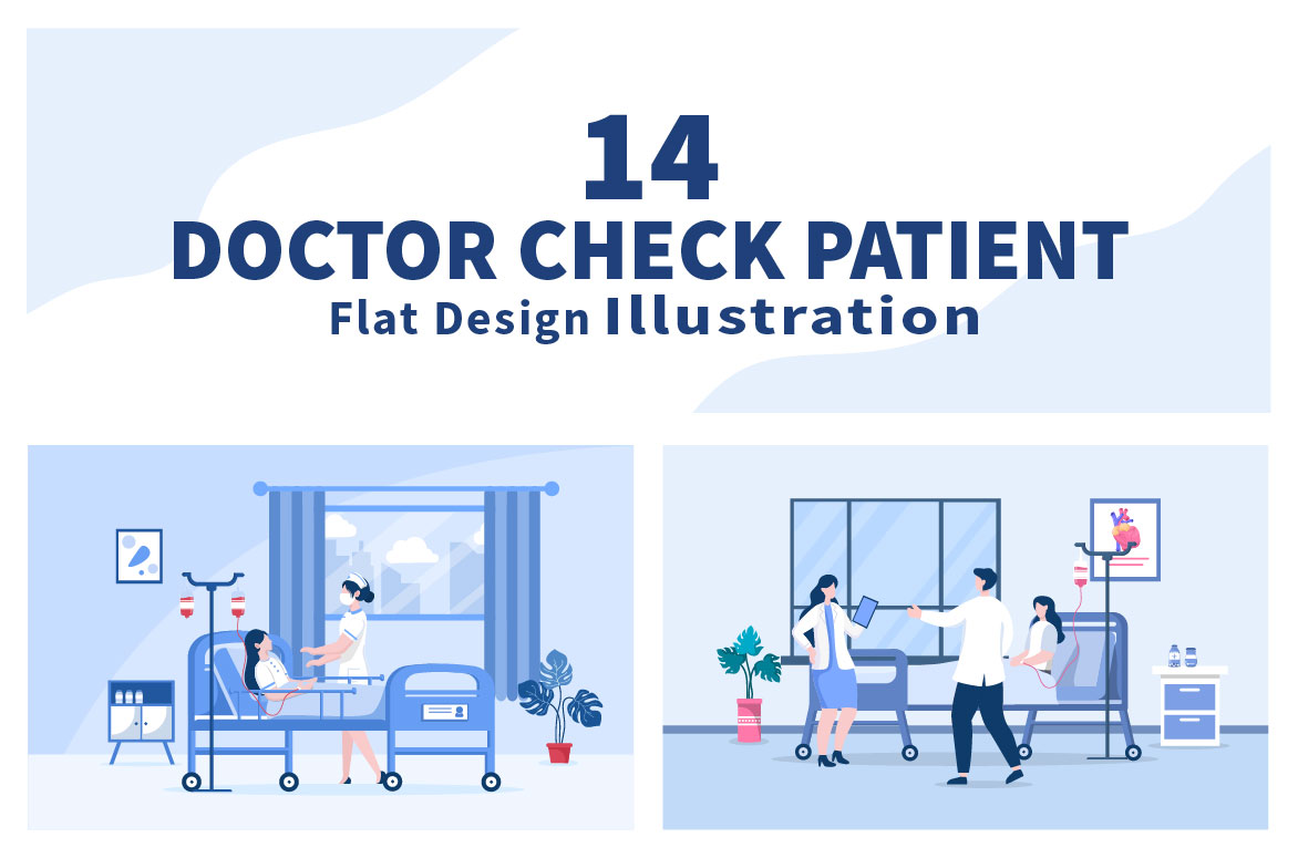 14 Doctor Checking a Patient Medical Treatment Vector Illustration - doctor check patient 01 -