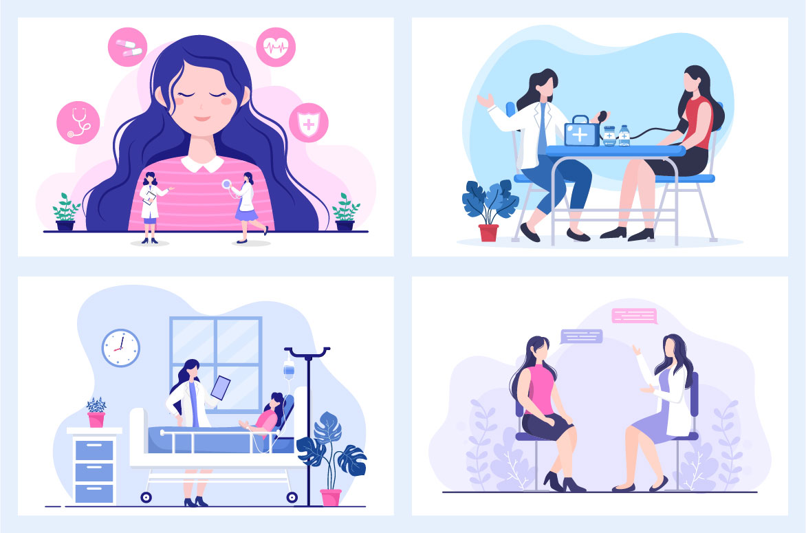 14 Doctor Checking a Patient Medical Treatment Vector Illustration - doctor check patient 02 -