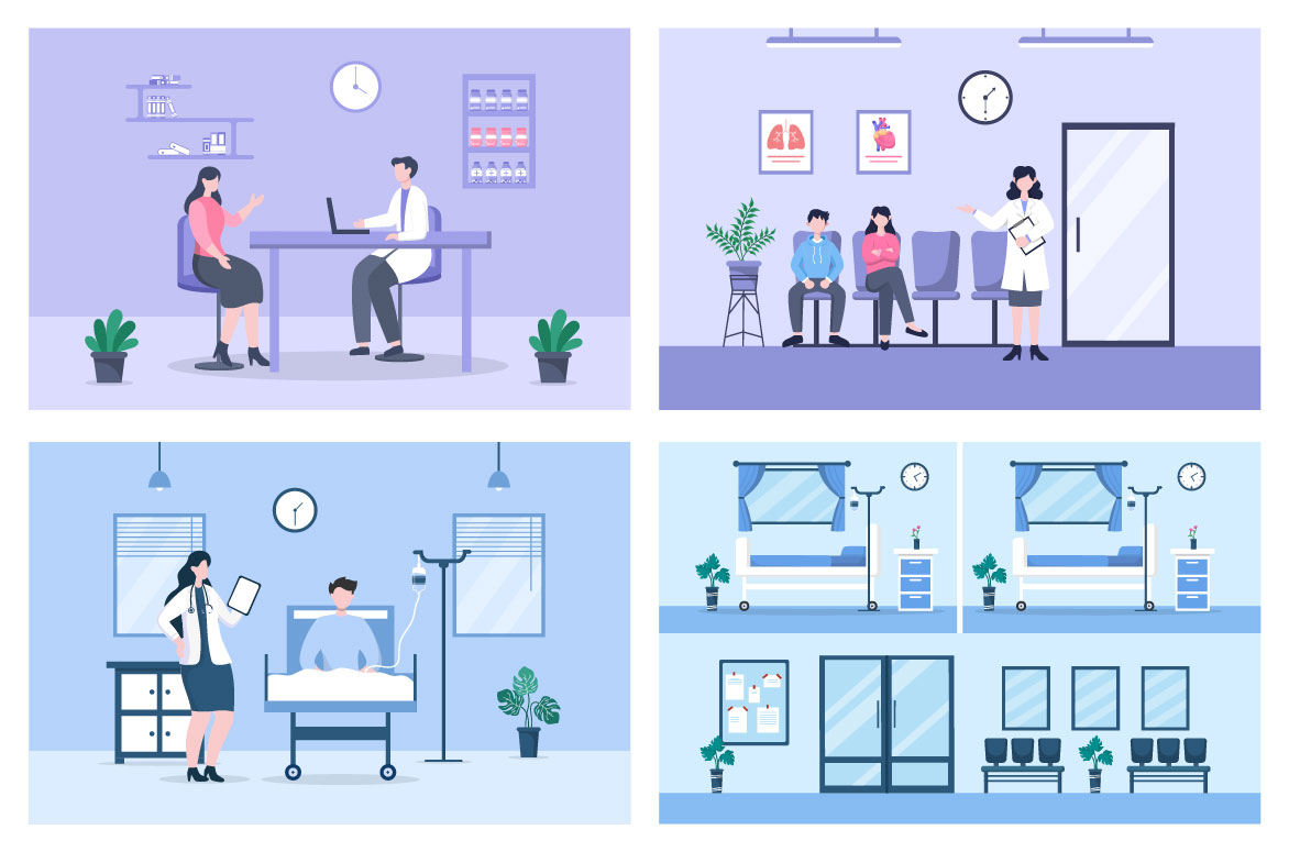 14 Doctor Checking a Patient Medical Treatment Vector Illustration - doctor check patient 04 -