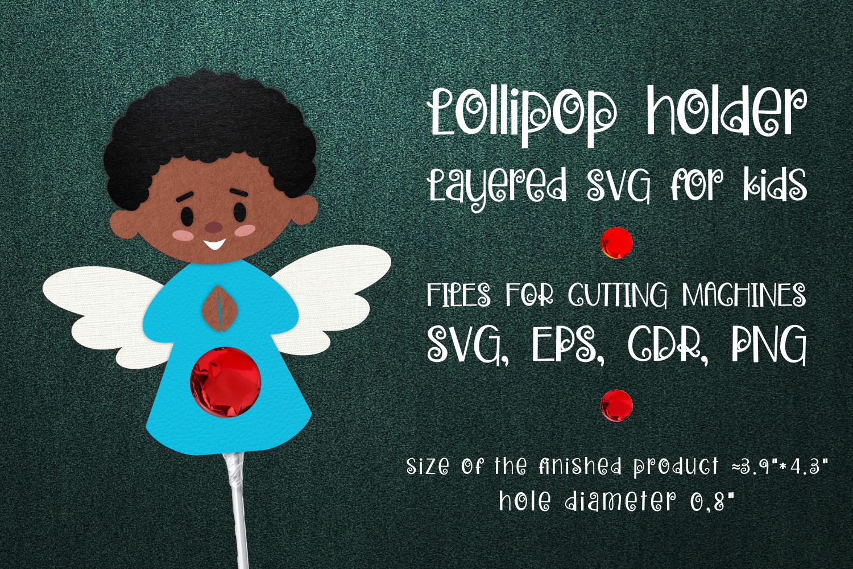 Black Boy Angel Lollipop Holder SVG - 1 38 -