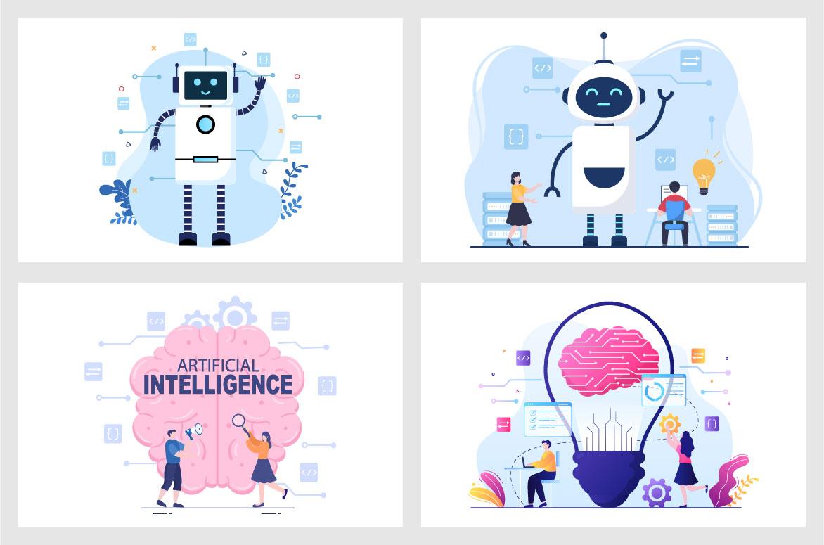 20 Artificial Intelligence Digital Brain Technology Vector Illustration - Ai 02 -