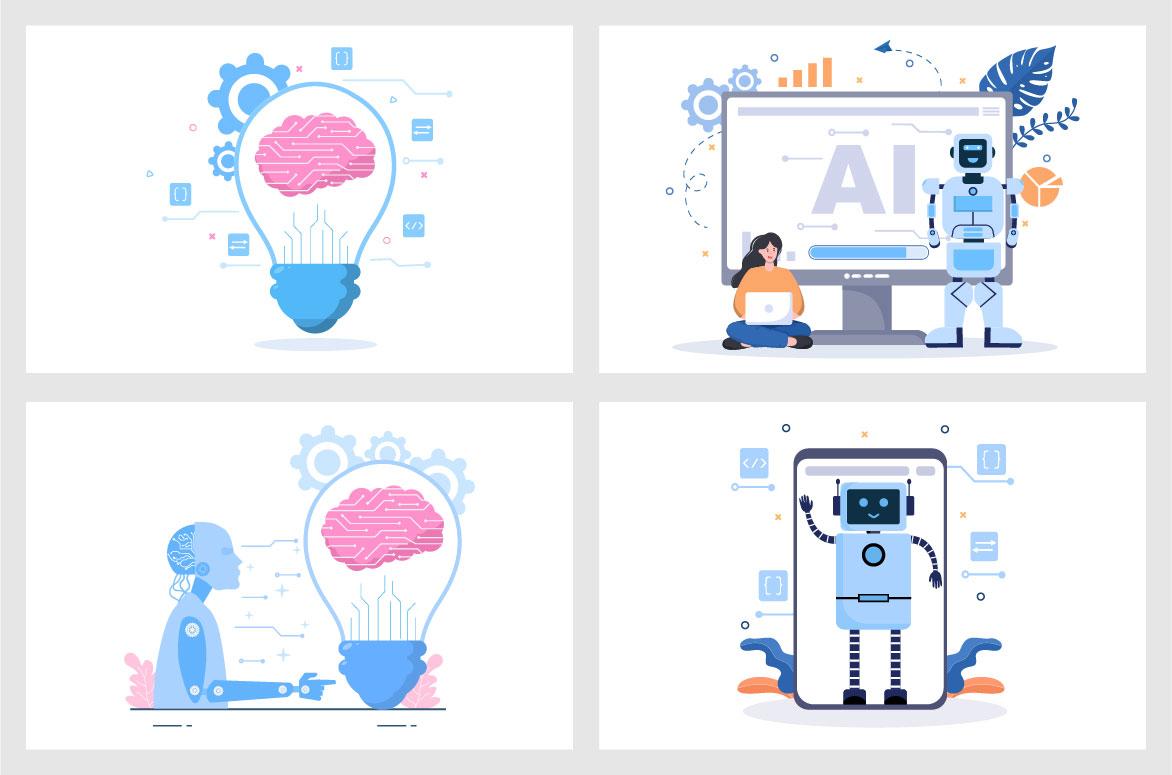 20 Artificial Intelligence Digital Brain Technology Vector Illustration - Ai 03 -