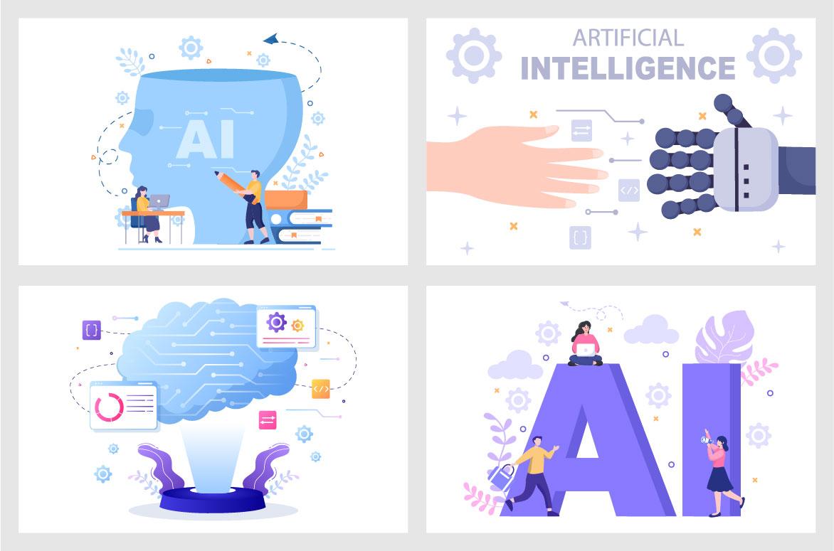 20 Artificial Intelligence Digital Brain Technology Vector Illustration - Ai 04 -