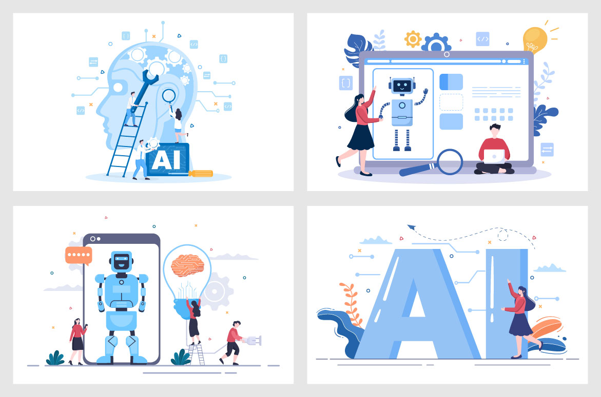 20 Artificial Intelligence Digital Brain Technology Vector Illustration - Ai 05 -